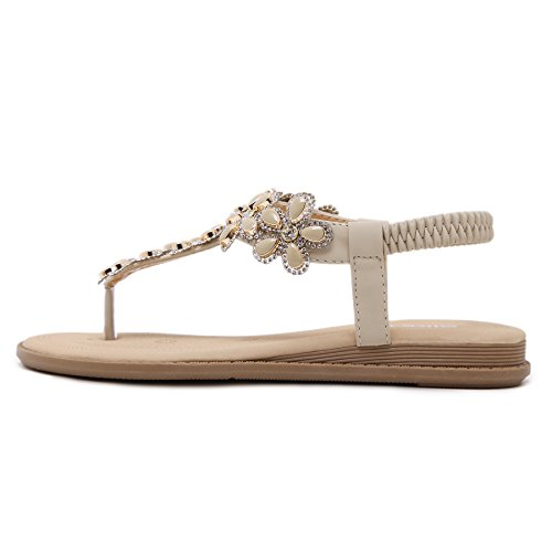 Landove Women Casual Crystal-Flower Leather Flip Flop Slippers Thong Flat with T Strap Beige 65PCX3