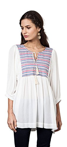 Embroidered Baby Doll Dress - Umgee Women's Tribal Embroidered Baby Doll Tunic Dress (Large, Off White)