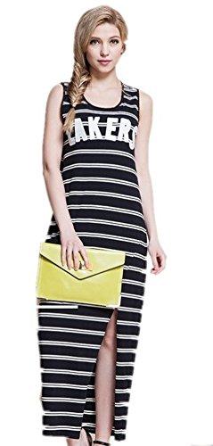 Free2mys® Womens Off Shoulder Knit Stripes Dress with Slit (6)
