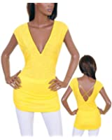 Sexy Vibrant Yellow Strappy Back Long Shirt S M L