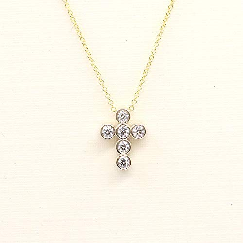 Dainty Diamond Cross Bezel Pendant, 14k Solid Gold Necklace for Women, 0.18 CT Natural Diamonds Charm Necklace