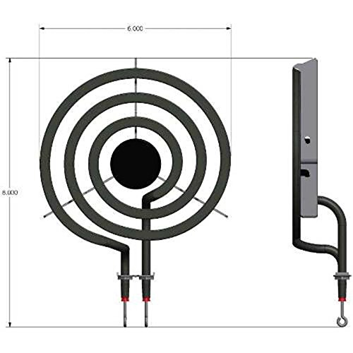 Range Element For Whirlpool, 6 In., 3 Turn, 240 Volt, 1250 Watt, Replaces 9761348