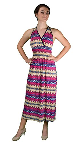 Peach Couture Bohemian Chevron Pattern V Neck Smocked Waist Halter Maxi Dress – Medium, Dark Pink