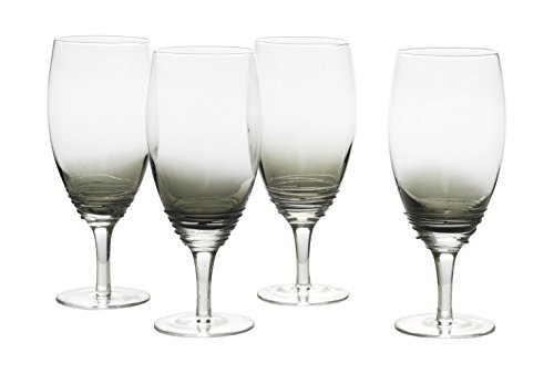 Mikasa Beverage Glass - Mikasa Swirl Smoke Iced Beverage Drinkware (Set of 4), 22 oz, Glass