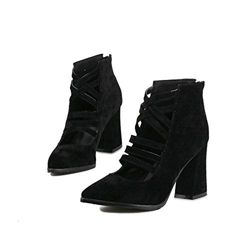 moda tacchi black fighi fighi i fighi alti cavallo 44 ferro stivali di Sandalette stivali di e stivali affilato DEDE qTH00xI