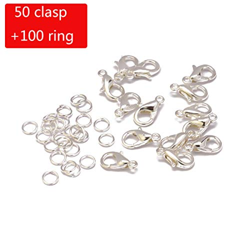 (Tiparts Jewelry Findings Kit - 50 pcs Lobster Claw Clasps and 100 pcs Open Jump Rings for Jewelry Making Supplies (Silver, Clasp:12x6mm+Ring:0.7x5mm))