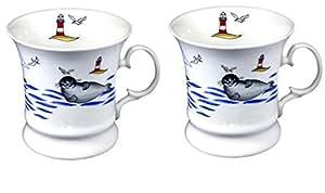 2pieza de porcelana–Taza de café Pott, vasos,–foca Faro–Maritim–Alemán del diseño