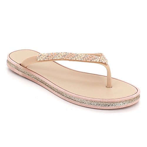 Chaussures Taille Plat Doux Post Toe Soir Poids Diamante Femmes Pantoufle Rose Dames Sandales léger Été Décontractée des X6w0cZq
