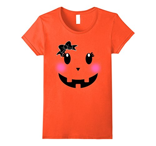 Womens Pink Blusher Pumpkin Face Shirt for Halloween Costume Ribbon Large Orange - Diy Halloween Costumes Teenage Girls