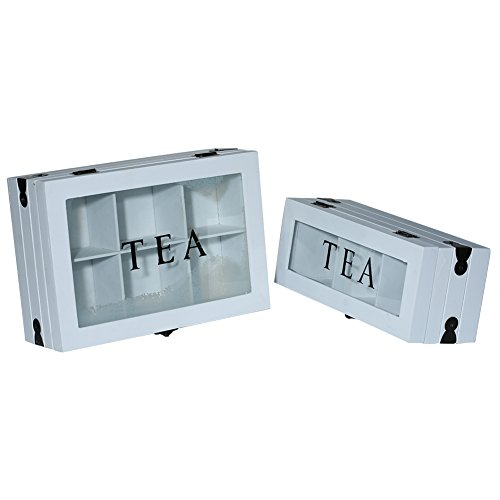 Hotniu Wooden Tea Bag Storage Holder Box - 9 Compartments Tea Bag Box Holder Tea Chest Organizer with Glass Window ()