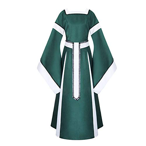 iLOOSKR Medieval Dress Women Vintage Dress Bell Sleeve Bandage Patchwork Dress Gown Costumes Green -