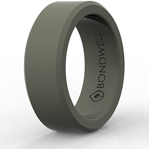 BEST SILICONE WEDDING RING FOR MEN (Olive) ''Protect Your Finger & Marriage'' Safe, Durable Rubber Wedding Band for Active Athletes, Military, Crossfit, Weight Lifting, Workout 100% Guarantee (10) by Bondwell