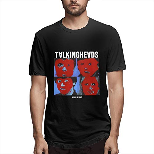 Seuriamin Talking Heads Remain in Light Casual Men's T Shirts Black ()