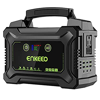 ENKEEO 222Wh Portable Power Station with Rechargeable Lithium-ion Battery, Power Generator with 110V/200W AC Outlet, 15V/3A Output, Easy Read LCD Display and LED Light for Camping and Emergency Use
