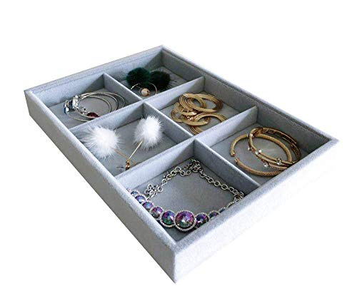 (Svea Display 6-Grid Stackable Premium Quality Grey Velvet Jewelry Organizer Multi Function Rearrangeable Divider for Collectibles Jewelry Necklace Earring Ring Buttons Precious Stone Art Delicate)