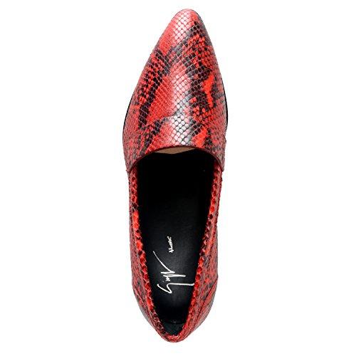 Giuseppe Zanotti Homme Mens Python Huden Röd Läderklänningen Dagdrivare Skor Röd