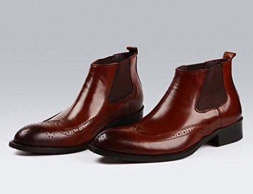 Zapatos Clásicos de Piel para Hombre Zapatos de cuero para hombres High-top Business British Style señaló corto Martin Boots ( Color : Red-brown , Tamaño : EU43/UK8 ) Red-brown