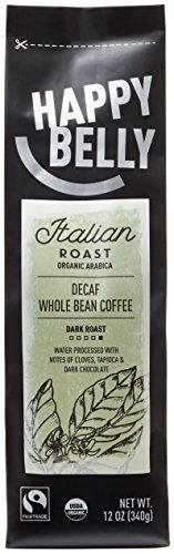 Happy Belly Italian Roast Decaf Organic Fairtrade Coffee, Dark Roast, Whole Bean, 12 ounce (Organic Decaf Whole Bean Coffee compare prices)