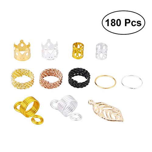 (Lurrose 180Pcs Micro Rings Beads Hair Braids Dreadlock Decorations Adjustable Braid Cuffs Clip for Hair Extensions (Assorted Color and Pattern))