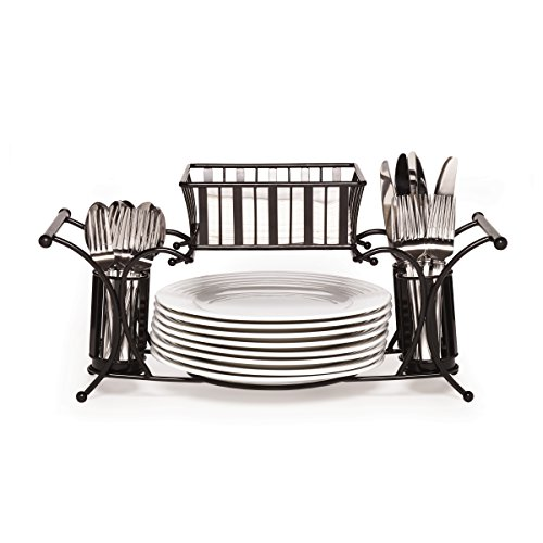 (Gourmet Basics by Mikasa 5154842 Metal Hostess Flatware Napkin and Plate Tabletop Buffet Picnic Caddy, Band and Stripe)