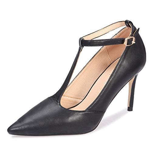 Women Pointed Toe High Heel T-Strap Pumps Adorable Vintage Stiletto Evening Dress Shoes Black