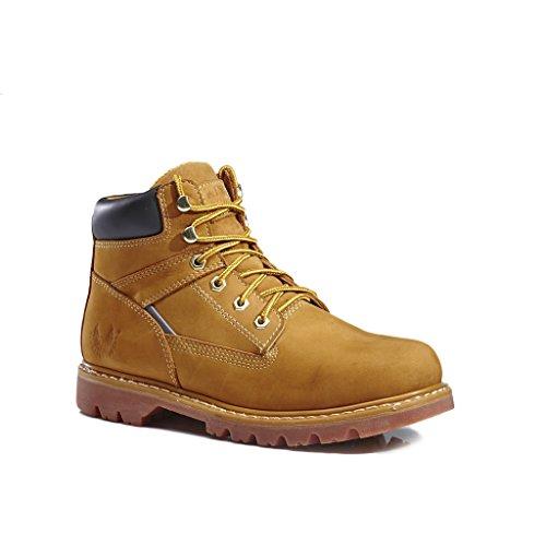 (KINGSHOW Men's 1406-1 Premium Wheat Full-Grain Leather Plain Rubber Sole Soft Toe Work Boots 8 M US)