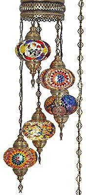 (10 Colors) Swag Plug in Light, Demmex 5 Big Globes Turkish Moroccan Mosaic Tiffany Swag Wall Plug in Ceiling Hanging Light Chandelier Lighting, 15feet Chain Cord North American Plug