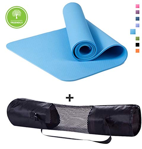 """Polly House TPE Yoga Mat, Extra Thick 8mm, Free Quality Carrying Strap, 100% TPE Material – Excellent Cushion, Anti-Skid and Light-Weight, Size 72""""X24"""" (05 Sky Blue) Review"""