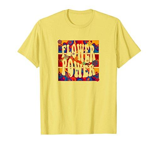 Mens Modern Art - Flower Power Feeling Fractal Retro T-Shirt Small Lemon