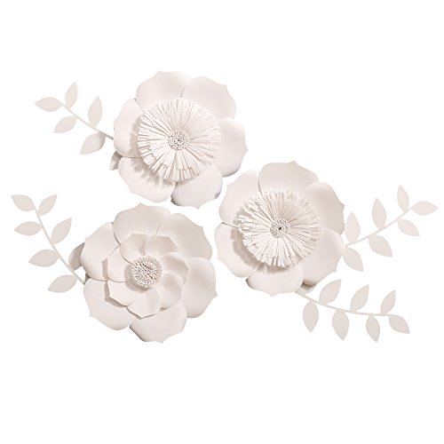 Ling's moment Paper Flower Decorations for Wall, Large White Paper Flowers, Handcrafted Cardstock Flowers, 3D Wall Flowers for Wedding Backdrop, Baby Nursery, Archway, 8