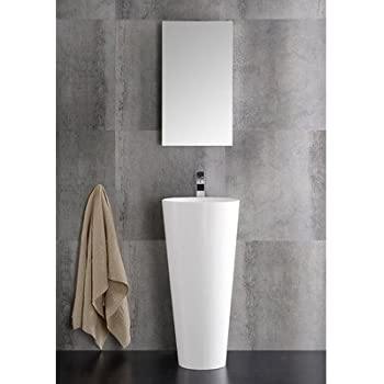 fresca messina white 16inch modern bathroom vanity with pedestal sink and medicine cabinet