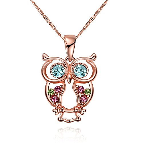 Nyan Cat Costume Cheap (iCAREu Rose Gold Plated Colorful Czechic Diamond Bright Glass Owl Pendant Necklace for Women, Girls,18