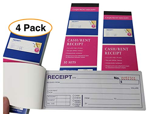 Cash Or Rent Receipt Books Sales Order Invoices | 2 Part, Carbonless, White/Canary, 7 1/2