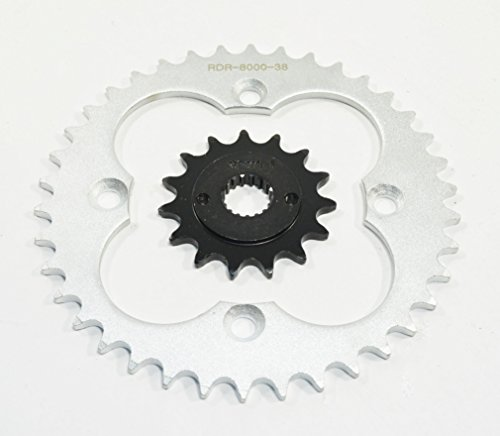 Race Driven OEM Replacement 15 Tooth Front & 38 Tooth Rear Silver Sprocket for Honda TRX400EX TRX 400 EX TRX400 400EX ()