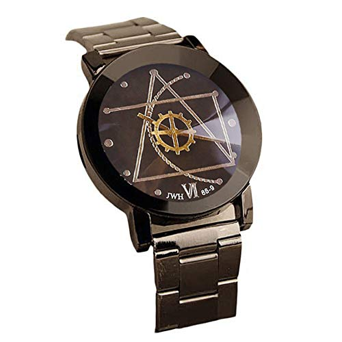 - Creazy Fashion Watch Stainless Steel Man Quartz Analog Wrist Watch (Black)