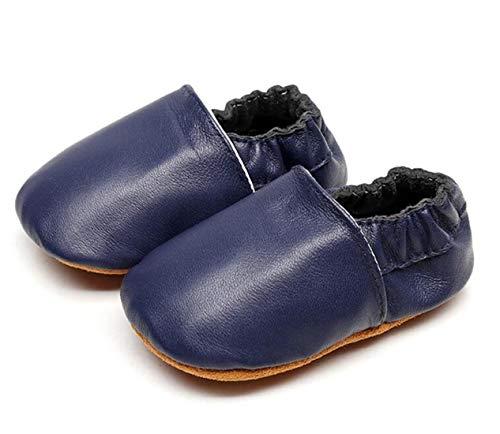 (Bebila Baby Slippers Elastic Ankle - Star Baby Moccasins Girls with Soft Sole Crib Pre-Walker Boys Slip on Shoes Stripe (3M US Infant, Darkblue2))