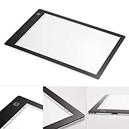 A4 Tracing Light Box, CCTRO LED Tracing Light Pad Tracer USB Power Cable Dimmable Brightness Tattoo Pad for Animation, Designing, Sketching, Drawing, Artists, X-ray viewer