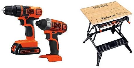 Black Decker 20V MAX Drill Driver Impact Combo Kit with BLACK DECKER WM425-A Portable Project Center and Vise