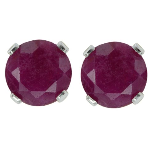(Sterling Silver Red Ruby Women's Stud Earrings (1.20 cttw, 5MM Round Cut))