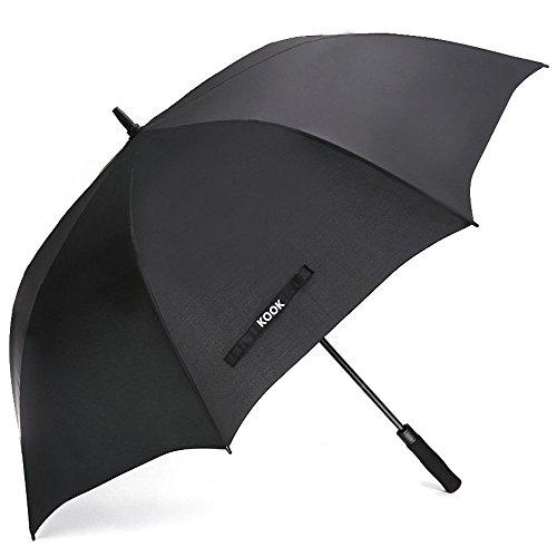 Umbrella Nylon Windproof (KOOK Automatic Open Golf Umbrella Extra Large 62 Inch Windproof Oversize Waterproof Stick Umbrellas for Men Women (Black))