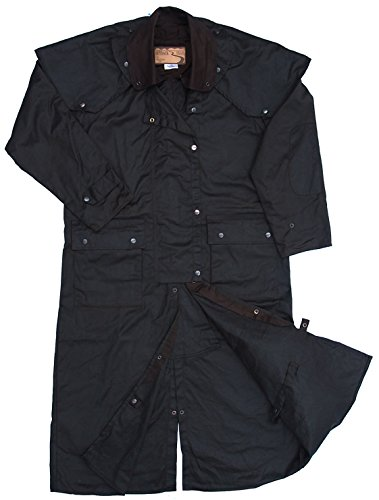 Mens Duster Jackets (Mens Oilskin Oilcloth Waterproof Outback Trail Australian Duster Coat)
