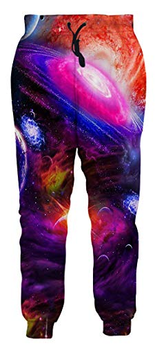 1980s Yougth Boy and Girl Purple Galaxy Space Clothing Hipster Stylish Supreme Jogging Pants Cool 3D Print Sweatpants M