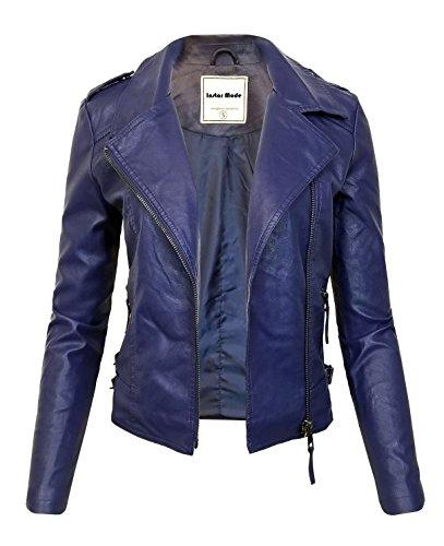 Instar Mode Women's Ultimate Moto Biker Faux Leather Jacket (JK31611 Royal Blue, Large)