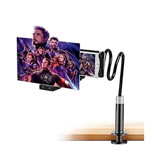 DUJIE loupe vid/éo 3D HD avec Support Pliable et Anneau de t/él/éphone Portable Support de Tablette et Smartphone Pliable Support r/églable en col-de-Cygne Stand avec Bras Extensible pour t/él/éphone