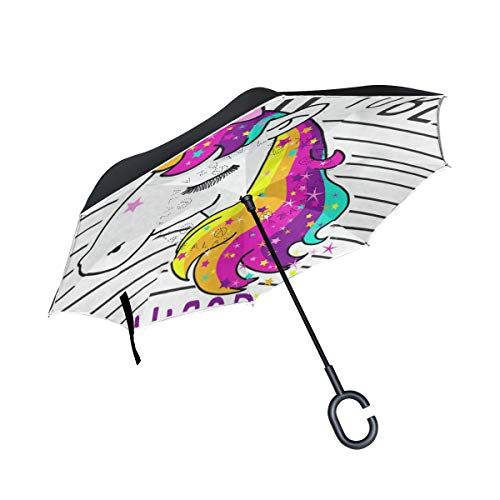 Inverted Umbrella Time To Be Unicorn Double Layer Reverse Umbrella for Car Windproof UV Protection Big Straight with C-Shaped Handle