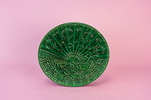 Aesthetic Movement Pottery Serving DISH Fan Shape Small Service Antique Majolica Beautiful Dinner Green English 1870s LS (Halloween Pasta Shapes Uk)