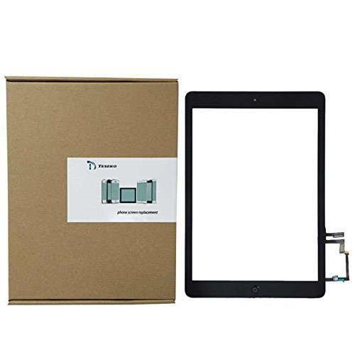 Teseko Replacement Accesories for Apple Ipad Air 5th Front Touch Panel Touch Screen Digitizer + Home Button and Flex Cable + Adhesive Tape Assembly (Black)