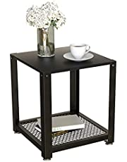 DELFOY 2- Tier Side Table Torched Wood End Table with Black Metal Mesh Bottom for Bedroom for Living Room, Bedroom Night Stand, Sofa, Couch, Office Storage Space
