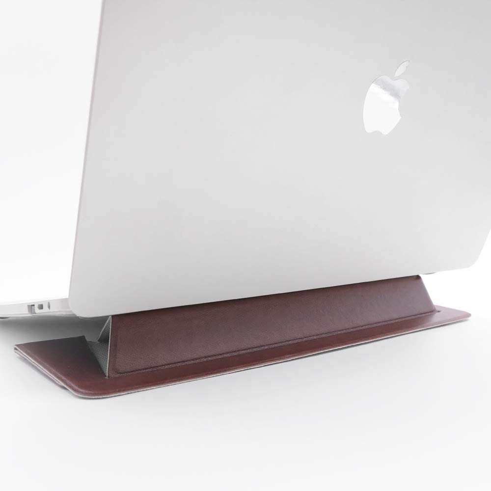 "SenseAGE Flat Foldable Laptop Stand, Invisible Lightweight Laptop Stand, Anti-Slide and Portable Notebook Stand, Compatible with MacBook/MacBook Air/MacBook Pro, Tablets and Laptops up to 15.4"", Brown"