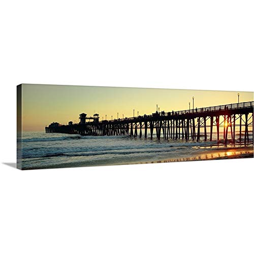 Pier in The Ocean at Sunset Oceanside San Diego County California Canvas Wall Art Print, 36